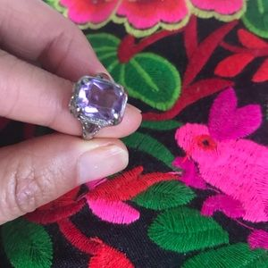 antique 10k white gold with amethyst ring size 5.5
